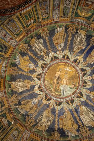 Ravenna, Italy - Sept 11, 2019: The ceiling mosaic in the Baptistry of Neon in Ravenna. Italy