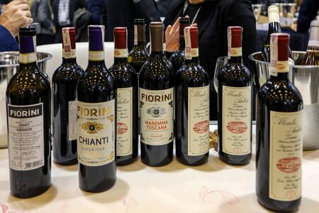 Cracow, Poland - November 20, 2019: International Wine Trade Fair ENOEXPO in Cracow. Producers of wine from all around the world meet the importers distributors and representatives. Cracow. Poland 報道画像