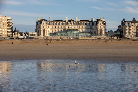 Saint-Malo, France - September 16, 2018: The Thermes Marins Spa is in a stunning location on the beachfront and overlooks a fine sandy beach in St Malo. France