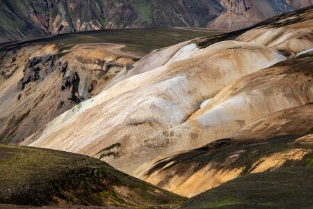 Volcanic mountains of Landmannalaugar in Fjallabak Nature Reserve. Iceland Stock Photo - 140545858