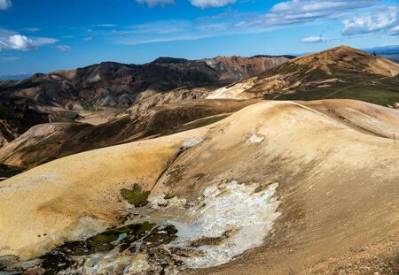 Volcanic mountains of Landmannalaugar in Fjallabak Nature Reserve. Iceland Stock Photo - 140545918