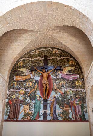 Alberobello, Italy - September 16, 2019: Altar in the church of Saint Anthony in Trulli village in Alberobello, Italy.
