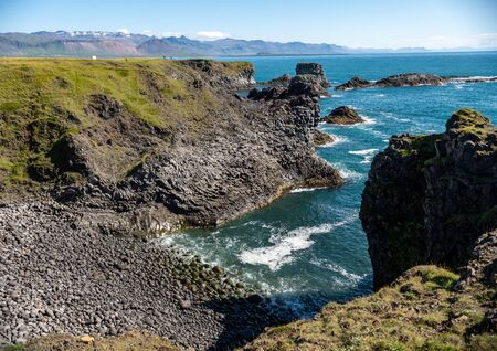 The cliffs between Arnarstapi and Hellnar in Snaefellsnes, west Iceland