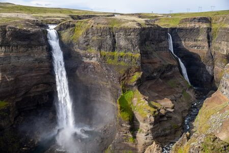 View of the landscape of the Haifoss waterfall in Iceland.