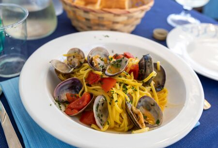 Hand-made pasta with seafood in Polignano a Mare. Apulia, Italy