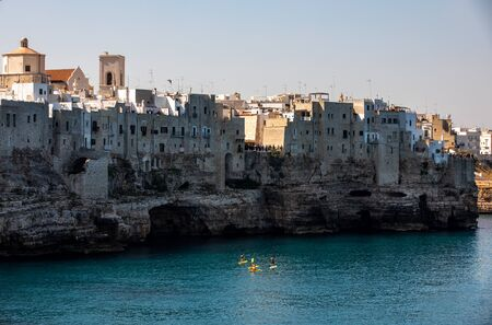 View of Polignano a mare - picturesque little town on cliffs of the Adriatic Sea. Apulia, Southern Italy Zdjęcie Seryjne