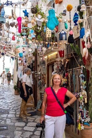 Polignano a Mare, Italy - September 17, 2019: Store display with handmade souvenirs in Polignano a Mare. Apulia, Bari province, Italy,
