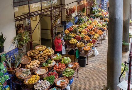 Funchal, Madeira, Portugal - April 23, 2018: Mercado dos Lavradores fruit and vegetable market in Funchal on Madeira Island. Portugal Publikacyjne