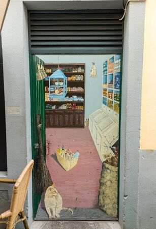 Funchal, Portugal - September 4, 2016: Zone Velha - the oldest district famous for its best restaurants and cafes in Funchal. Madeira, Portugal