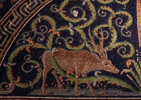Ravenna, Italy - Sept 11, 2019: The oldest and most perfect mosaic monument, empress Galla Placida Mausoleum, in Ravenna, Italy. Publikacyjne