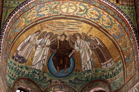 Ravenna, Italy - Sept 11, 2019: Interior of Basilica of San Vitale, which has important examples of early Christian Byzantine art and architecture. Detail of the mosaics of the apse: the Redeemer, St. Vitale and the Bishop Ecclesius Publikacyjne