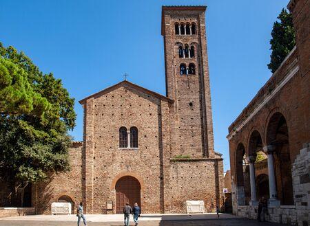Ravenna, Italy - Sept 11, 2019: The Basilica of San Francesco in Ravenna. Emilia-Romagna, Italy