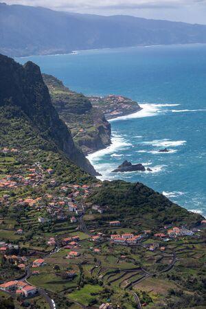 Arco De São Jorge on north coast Madeira seen from Miradouro Beira da Quinta, Madeira, Portugal. Stock Photo