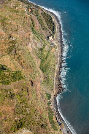 View down from Cabo Girao on Madeira Island, Portugal, the highest cliff in Europe Stock Photo