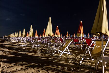 A deserted beach in Lido di Camaiore, a seaside resort liked by Italians. Tuscany, Italy