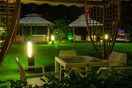 Lido di Camaiore, Italy - September 5, 2011: The deserted patio and garden at the hotel in Lido di Camaiore. Italy