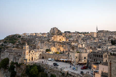 Matera, Italy - September 17, 2019: View of the Sassi di Matera a historic district in the city of Matera, well-known for their ancient cave dwellings. Basilicata. Italy