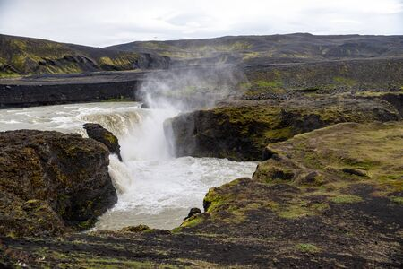 Hafragilsfoss is the very powerful waterfall on Iceland not far from its bigger brother Dettifoss. It is located in Jokulsargljufur National Park the northeasten Iceland on the river Jokulsa a Fjollum.