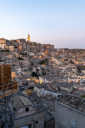 View of the Sassi di Matera a historic district in the city of Matera, well-known for their ancient cave dwellings. Basilicata. Italy Banco de Imagens