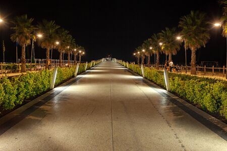 A deserted promenade in Lido di Camaiore, a seaside resort liked by Italians. Tuscany, Italy