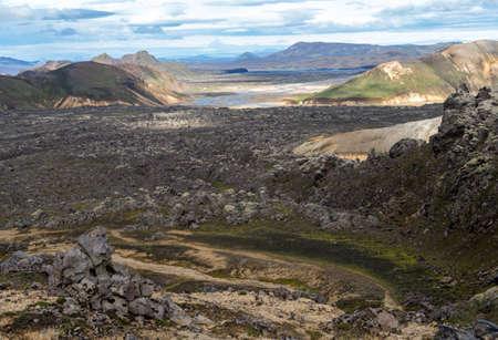 Volcanic mountains of Landmannalaugar in Fjallabak Nature Reserve. iceland Imagens