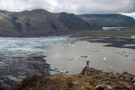 Svinafellsjokull glacier, part of Vatnajokull glacier. Skaftafel National Park on Iceland Imagens