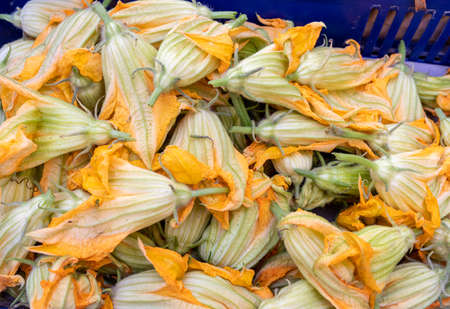 Fresh zucchini flowers at a farmers market in Italy