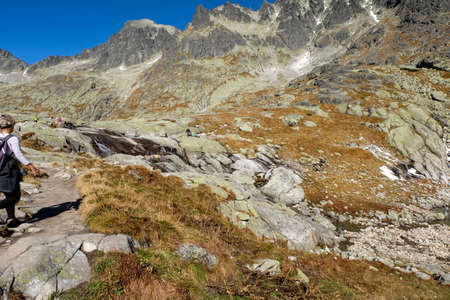 Vysoke Tatry, Slovakia - October 10, 2018: Great Cold Valley in Vysoke Tatry (High Tatras), Slovakia. The Great Cold Valley is 7 km long valley, very attractive for tourists