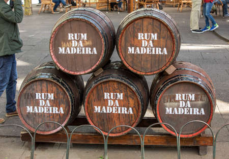 Funchal, Madeira, Portugal - April 19, 2018: a bar at the festival do Rum in the city center of Funchal on the Island Madeira of Portugal.