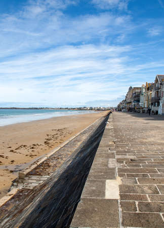 Saint-Malo, France - September 14, 2018: View of beach and promenade in Saint-Malo. Brittany, France