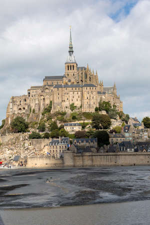 Mont-Saint-Michel, island with the famous abbey, Normandy, France Редакционное