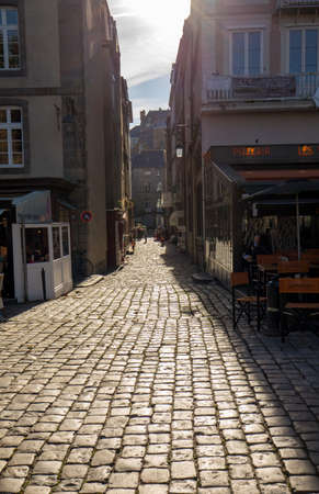 Saint-Malo, France - September 15, 2018: Narrow street in St Malo, Brittany, France