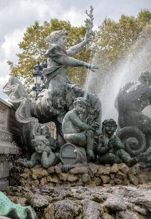 Bordeaux, France - September 9, 2018: Esplanade des Quinconces, fontain of the Monument aux Girondins in Bordeaux. France
