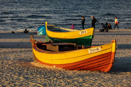 Jantar, Poland - September 7, 2020: Colorful fishing boats on the beach by the seaside in Jantar, Pomerania, Poland Editorial