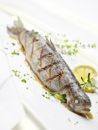 grilled fish: grilled trout on a white plate with a lemon garnish