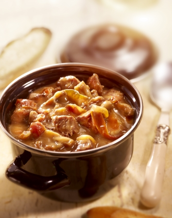 eaten: a tasty small stew with tomato and beef served on the table ready to eat