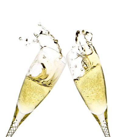 champagne flutes: Champagne flutes toasting