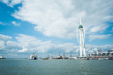 portsmouth: Spinnaker tower and sea on cloudy day at Portsmouth England