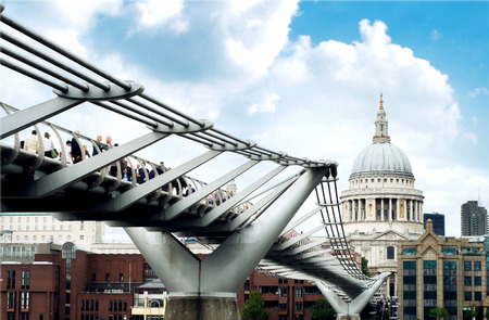 st pauls: St. Pauls Cathedral and Millennium bridge at England United Kingdom