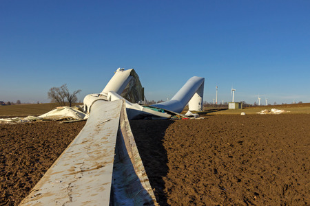 overturned wind turbine