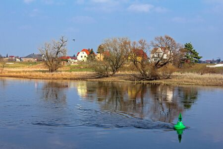 At the Elbe in Riesa Stock Photo