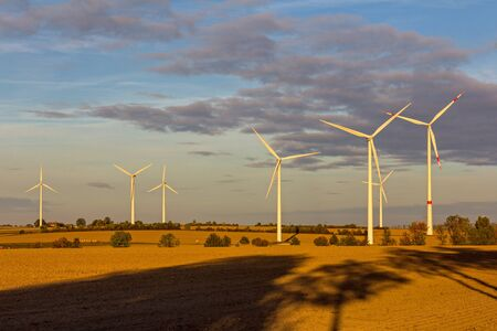 Evening mood with wind turbines