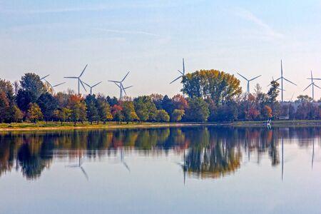 Wind farm at the lake