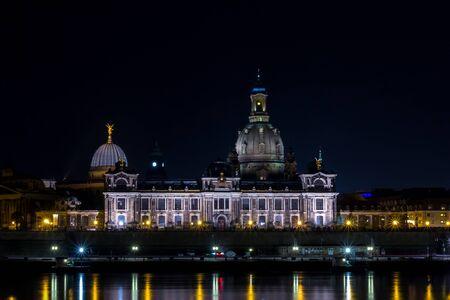 Bruehl's terrace in Dresden at night