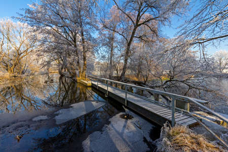 Bridge over the river Roeder Standard-Bild