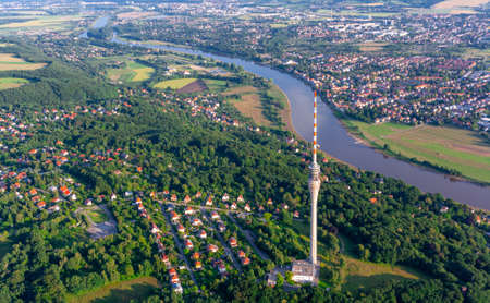 A picture of the television tower in Dresden from the air Standard-Bild