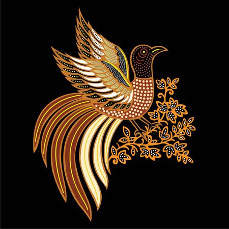 vector illustration of bird batik from Indonesia, used for business or personal needs  イラスト・ベクター素材