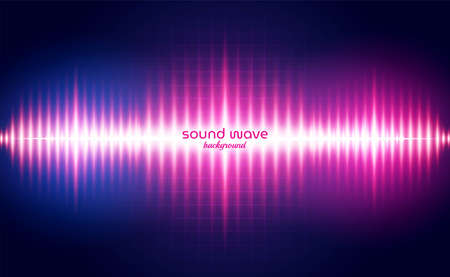 Sound Wave Background with Red Neon Light Colour  イラスト・ベクター素材