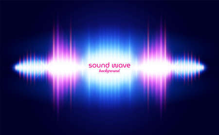 Sound Wave Background with Vibrant Neon Light  イラスト・ベクター素材