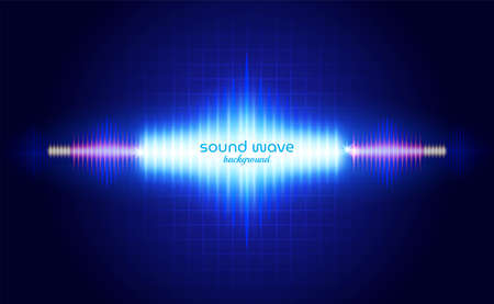 Sound Wave Background with Blue Neon Light  イラスト・ベクター素材